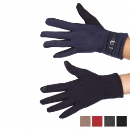Wholesale Q60D Faux suede buckle touch screen gloves