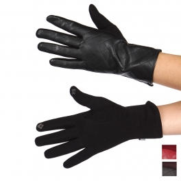 Wholesale Q60C Quilted faux leather touch screen gloves