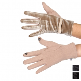 Wholesale Q66B Velvet bow-cuff touch screen gloves