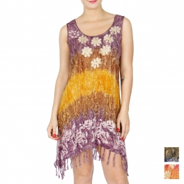 Wholesale G45A Fringe trim short dress PURPLE