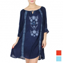 Wholesale K82A Floral embroidered short dress DENIM