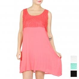 Wholesale K65C Cotton empire waist dress PLUS BLACK
