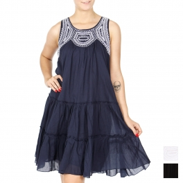 Wholesale K18A Vine embroidery tiered short dress BLACK