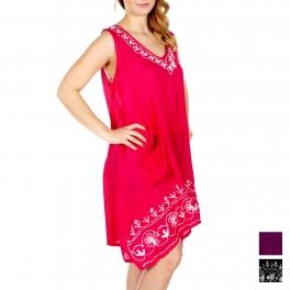 Wholesale P04D V Neck Front Pocket Umbrella Dress BK