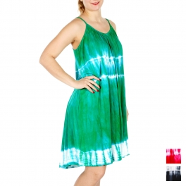 Wholesale I46D Spaghetti Strap Tie Dye Dress BK