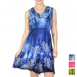 Wholesale K34A Tie dye V neck short dress BLUE