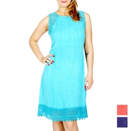 Wholesale K20B Lace insert crinkled sleeveless dress Turq