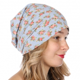 Wholesale O25A Soft blossom flower beanie Blue