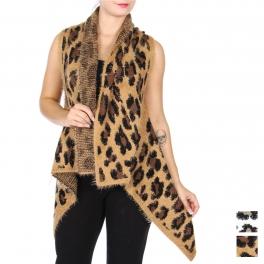 Wholesale S18D Leopard shawl vest
