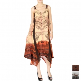 Wholesale K51C Acid wash abstract wave handkerchief dress ORANGE