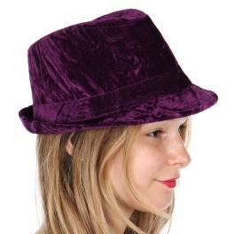 Wholesale W17E Crinkle velvet fedora PU