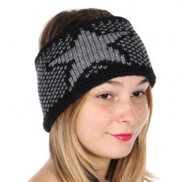 Wholesale W00A Star knit headband Black/Grey