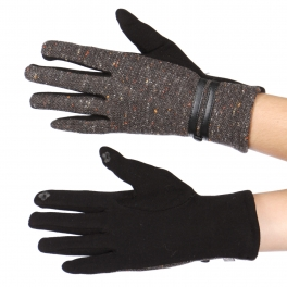 Wholesale T74B Double faux leather strap touch screen gloves BK
