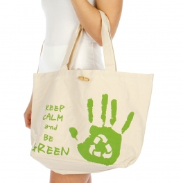 Wholesale V85 Keep calm and go green cotton tote bag GN