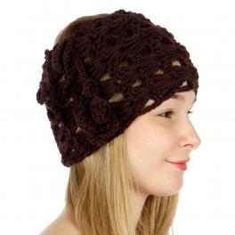 wholesale N05 Knit Corchet Neck/Head Wrap Brown