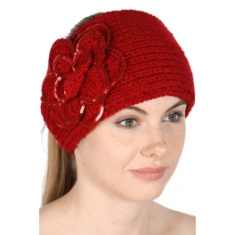 wholesale A04 Large Flowers with shiny Beads Head Band Red