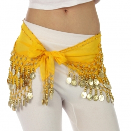 wholesale L11 Chiffon 3 Gold line Belly Sash Yellow