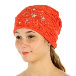 wholesale L08 Rhinestone flower gypsy knit hat Orange