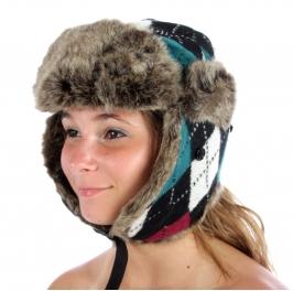 wholesale F08 Rhombus Trapper Hat Teal fashionunic