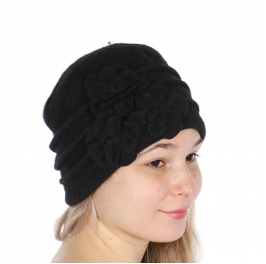 wholesale E05 Wool Beanie Flowers Black fashionunic