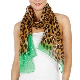 Wholesale I37D Leopard Print w/ Studs Scarf Black