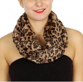Wholesale U33B Plush leopard print neck warmers assorted color Dozen