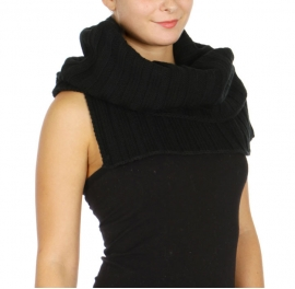WholesaleN12A Turtle Neck Warmer Caplet BK