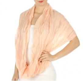 wholesale K02 Solid crinkle infinity scarf Peach