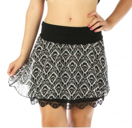 Wholesale A34 Plaid double layer mini skirt BK/WH