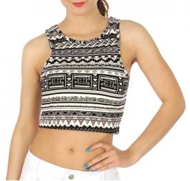 wholesale M06 Aztec printed crop short Black/White