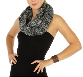 Wholesale S63 Banded open knit infinity scarf Black