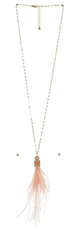 Wholesale L37A Long feather tassel necklace set GP