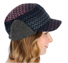 Wholesale U59 Chevron Stripe Ear Flap Hat Blue