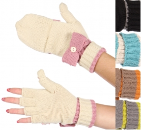 Wholesale S60S C.C Two tone bow fold over gloves Dozen