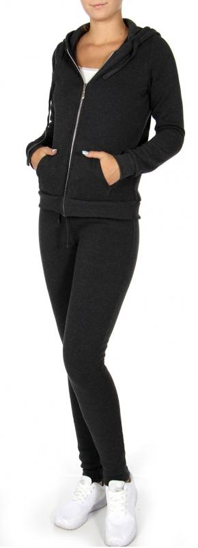 Wholesale T77 Solid fleece hoodie pants active set Black