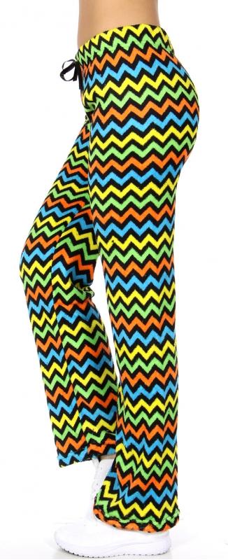 wholesale Multicolored chevron plush pants Black