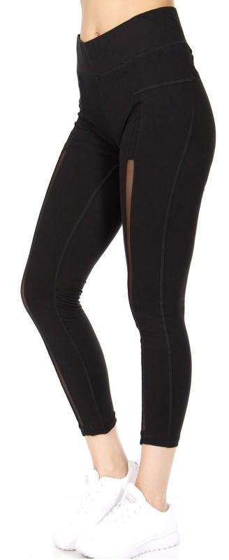 Wholesale R72A Mesh panel workout capri leggings Black