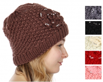 31b3677b6a2 Y55E Thick knit hat with jeweled flower and faux fur interior Dozen CODE   M10101