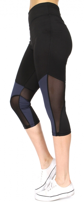 Wholesale E15E Mesh panel capri active leggings Grey