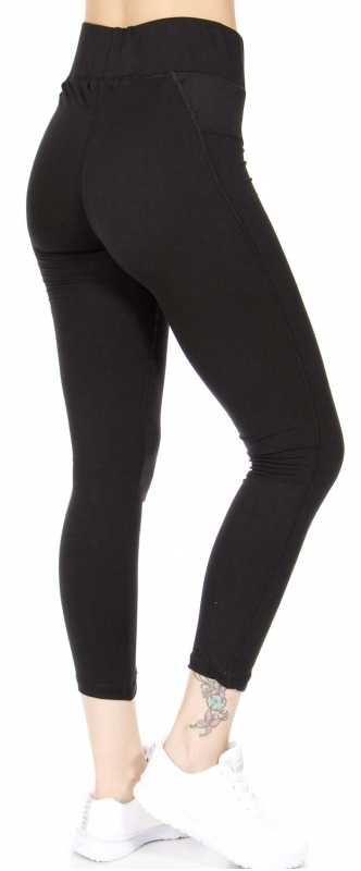Wholesale R72A Mesh panel workout capri leggings Black