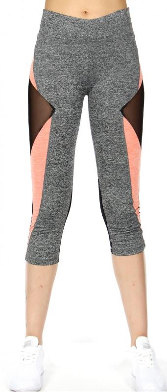 Wholesale Q68D Mesh inset crop capri leggings Pink