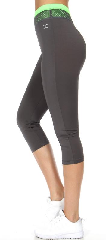 Wholesale WA00 Neon meshed waist capri pants N.Green