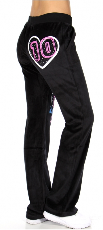 wholesale K57 09 Embroidered cotton velour pants-BK