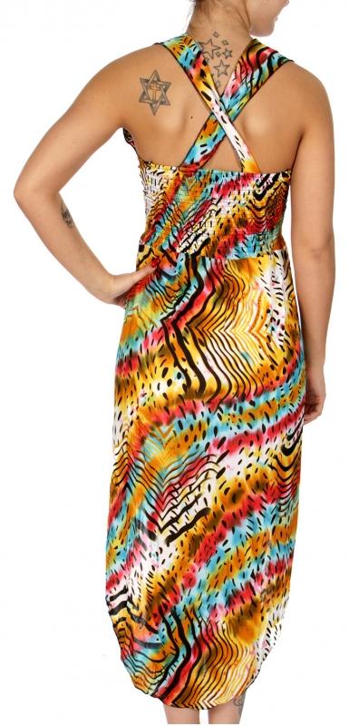 Wholesale O02 Racerback waist elastic band W/ unblance hemline wild animal pattern high low dress YL