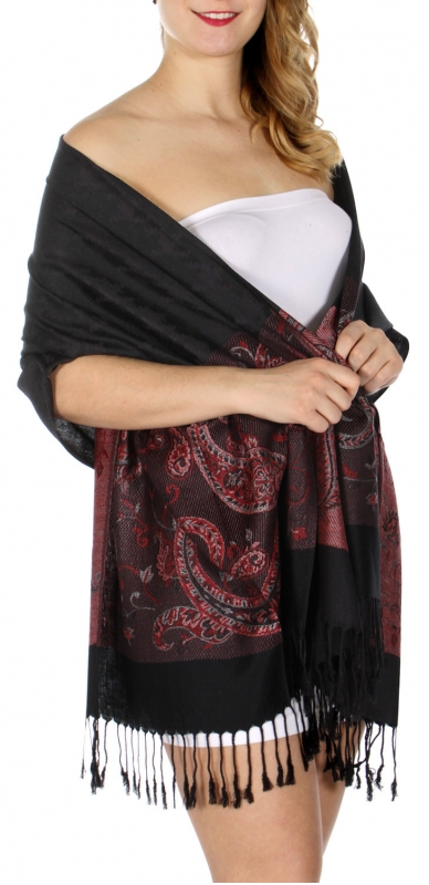 wholesale D20 Houndstooth Paisley Pashmina Black