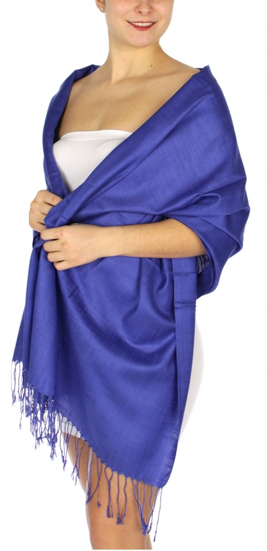 wholesale D01 Silky Light Wedding Pashmina 10 Cobalt
