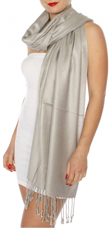 wholesale D63 Silky Solid Wedding Pashmina 67 Grey
