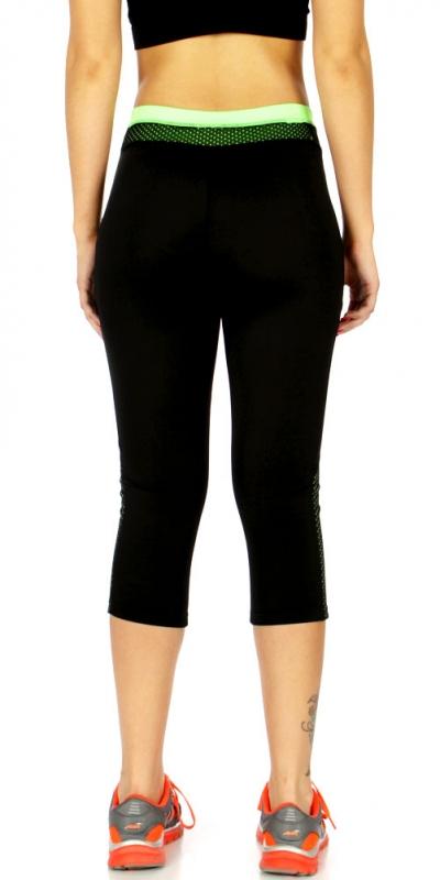 Wholesale WA00 Solid mesh detail capri pants N.Green