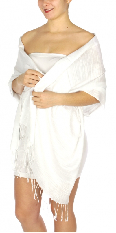 wholesale D01 Silky Light Wedding Pashmina 02 White