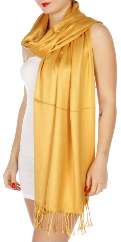 wholesale D36 Solid HD Wedding Pashmina 31 Mustard